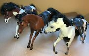 3 Plastic Toy Horses Cc With Saddles, One Has Button To Make Running And Noises