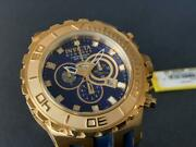 Mens Reserve Specialty 18k Gold Plated Swiss Chrono Blue Poly Watch