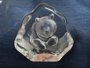 Mats Jonasson Crystal Glass Bear Sculpture Paperweight Signed Numbered Vintage