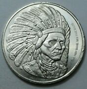 1 Oz 999 Silver Round Indian With Head Dress Silver Reserve Unit Vintage Rare