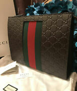 Stunner Authentic Signature Web Pouch Clutch Bag Limited Edition Nwt Cocoa