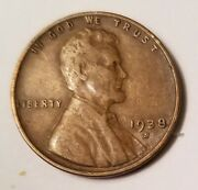 1938-s Lincoln Wheat Penny With Repunched Mintmark Error 001 - L@@k