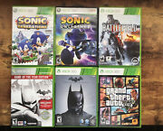 Xbox 360 Games Batman, Battlefield 4, Grand Theft Auto 5 And Sonic Lot Of 6 Games