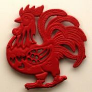 Cast Iron Antique Style Red Rooster Trivet 0184j-9011