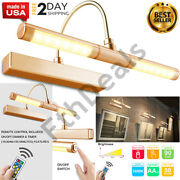 Wireless Battery Powered Led Picture Light Remote Control Dimmable Lamp Gold New