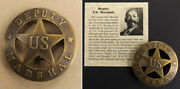 Deputy U.s. Marshal Badge Boxed Round Antiqued Brass Old West Bass Reeves