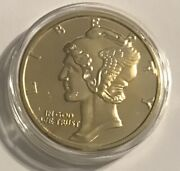 2011 Mercury Dime 1 Ounce Copper 24k Gold-layered In Collector Capsule 4174