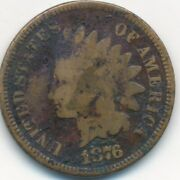 1876 Indian Head Cent-semi Key Date-nice Circulated Cent-ships Free Inv3