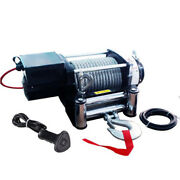 K Universal 17000lb Electric Recovery Winch 12v Volt Steel Cable Rope Towing Kit