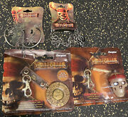Rare Disney Pirates Of The Caribbean Energizer Medallion Squeeze Light Keychain+