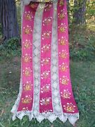 Best Antique Silk Hand Embroidered 2 Curtains String Lace Bedspread French