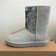 Ugg Womens Classic Short Sequin Stars Boots Gray Suede Size 8 Warm Wool Winter