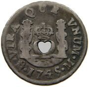 Martinique Bit Cut Out 1 Real 1754 Very Rare Heart T64 021