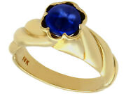 1.22 Ct Sapphire And 18carat Yellow Gold Dress Ring 1980s Size L 1/2