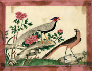 Antique Early 19th-century Chinese Pith Painting, Chinese Pheasant Birds