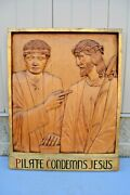 + Stations Of The Cross + Station 1, Hand Carved In Wood, 30 1/2 Ht. Cu561