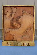 + Stations Of The Cross + Station 7, Hand Carved In Wood, 30 1/2 Ht. Cu566