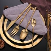 24pcs Golden Cutlery Set Stainless Steel Forks Knives Spoons Kitchen Tableware