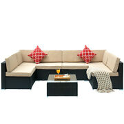 Outdoor Patio Sofa Sets Living Room Couch With Washable Cushions Tempered Glass