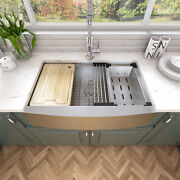 Sinber 33and039and039 16 Gauge Single Bowl Stainless Steel Farmhouse Apron Kitchen Sink