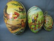 Three 3 Vintage Paper Mache Easter Eggs/candy Containers - Marked Germany
