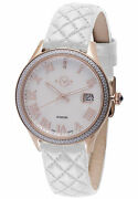 Gv2 By Gevril Womenand039s 1801 Asti Diamonds Mop Dial Rose-gold Ip Leather Watch