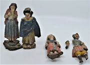 4 Ecuador Wood Carvings Statues 19th Century Conquistador And Baby, Man And Women