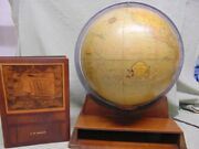 Rare 1940and039s Lighted Rand Mcnally Indexed Terrestrial Art Glass Globe And Atlas