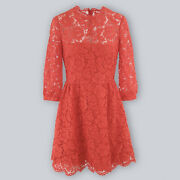 Valentino 3/4-sleeve Heavy Lace Dress   Coral Red   New