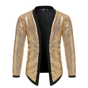 Mens Sequin Cardigans Open Front Long Sleeve Jacket Stage Party Clubwear Glitter