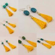 Turquoise With Yellow Tassel Silver Plated Free Shipping Earring Jewelry T61-t70