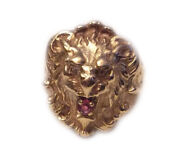 Lion Ring 14k Gold With Diamond Eyes And Ruby Mouth David Webb Style Size 6.75