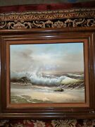 Original Painting On Canvas By Wilson Chester 1868 Seascape England