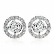 1.80ct Natural Diamond K-l Pave Four Prong Earring 14k White Gold Si1