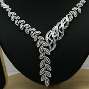 4.50ct Natural Diamond I-j Leaves Necklace Wedding Party 14k White Gold Si1
