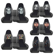 Fits Ford Ranger1991-2012/truck Car Seat Covers 60-40 Charcoal/blk Wolves/skull