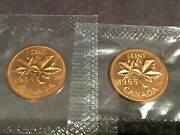 Set Of 2-1964-1965 Canadian One Cent Coin P/l From The Set Sealed.