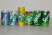 Lot Of 6 Empty Sprite Soda Cans Lemon Lime Cucumber Mint Light Ice Foreign