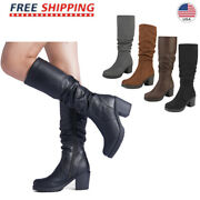 Dream Pairs Womens Chunky Slouchy Low Heel Knee High Mid-calf Boots Shoe Size Us