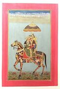 Mughal Badshah And Begum Riding Composite Horse Animal Painting Wall Decor Art