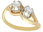 Antique French Diamond And 18k Yellow Gold Platinum Set Twist Ring - Size 6.25