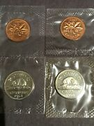 Set Of 4-1964+5 Canadian 2 One Cent And 2 Five Cents Coin P/l From The Set Sealed