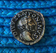 Antoninus Pius 145 Ad Great Peace-time Leader Vf Silver Adorned Alter