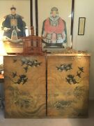 Chinese Wood Panels Depicting Swallows - A Pair