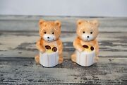 Vintage Welcome Taiwan Bear Holding Cookie Jars Salt And Pepper Shakers Set