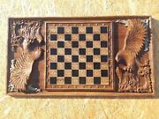 Oak Chess With Wood Carvings And 32 Figures Handmade