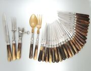 Antique French Horn And Silver Dinner And Dessert Knives, Carving, Gigot, Salad Set