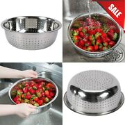 5.5 Qt. Round Silver Stainless Steel Kitchen Chinese Colander With Small Holes