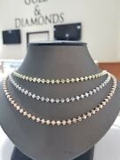 Real 10k Yellow/white/rose Gold Chain Necklace Moon Cuts 22 Inch 4 Mm Beads