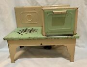 Vintage Child's Doll Electric Kitchen Stove Tin Toy 1930s Kingston Products 407x